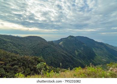 Sri Lanka â?? landscape cloud forest of the Horton Plains National Park, view from World End.