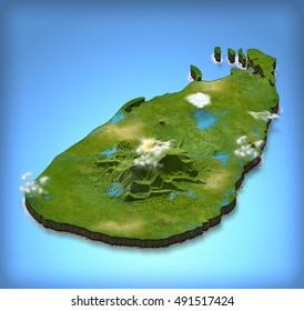 Sri Lanka map in 3D