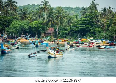 Sri Lanka, Mirissa - 17 April 2018: Fishing boats near Mirissa bay.