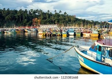 Sri Lanka, Mirissa - 17 April 2018: Fishing boats near Mirissa bay
