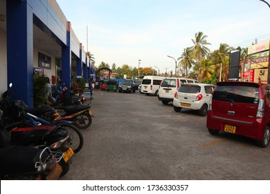 Sri Lanka, Negombo, 2020. exterior design of the building and parking with entrance supermarket arpiko