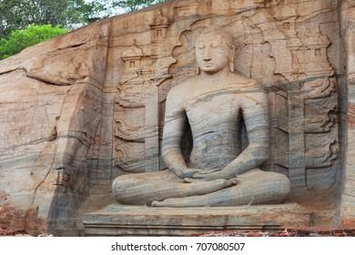 Sri Lanka. Polonnaruwa Gal Vihara Buddhist Statue. Statue carved in the rock