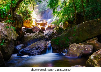 Sri Lanka, Sinharaja. The center of the island. A small waterfall in the rain forest. Stunningly beautiful scenery