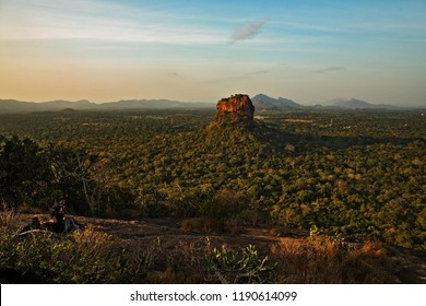 Sri Lanka  wiew Lion Rock from Pidurangala Rock wirh sun rise