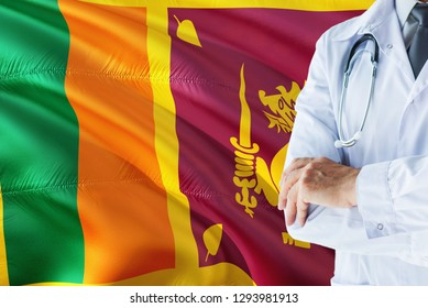 Sri Lankan Doctor standing with stethoscope on Sri Lanka flag background. National healthcare system concept, medical theme.