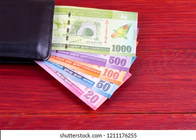 Sri Lankan money in the black wallet