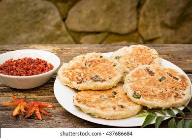 Sri Lankan pol roti or coconut rotti with lunu miris
