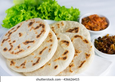 Sri Lankan pol roti with seeni sambal and lunu miris