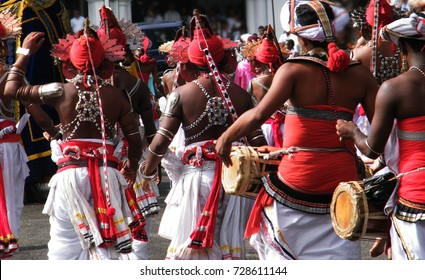 """Sri Lankan procession in Kandy. Traditional  dancers of hill country.""""Ves"""" dance, the most popular"""