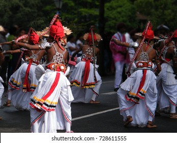 "Sri Lankan procession in Kandy. Traditional  dancers of hill country.""Ves"" dance, the most popular"