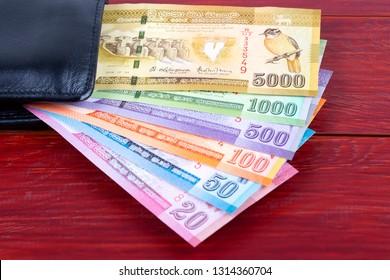 Sri Lankan Rupee in the black wallet