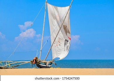Sri Lankan traditional fishing catamarans in Negombo, Sri Lanka. Negombo is known for its centuries old fishing industry & long sandy beaches