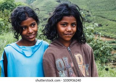 SRI LANKA,NUWARA ELIYA, OCTOBER 25, 2017: Two girls in Nuwara Eliya, children, local residents