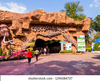 SRI RACHA, THAILAND - JANUARY 13, 2019: Entrance to the Crocodile Show in Sriracha Tiger Zoo.