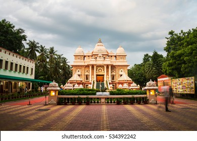 Sri Ramakrishna Math historical building in Chennai, Tamil Nadu, India in the evening with cloudy sky