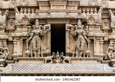 Sri Shakti Devasthanam Temple in Selangor, Malaysia. It is one of the most beautiful hindu temples in Malaysia. Details of the hindu sculptures of the facade, a beautiful artwork