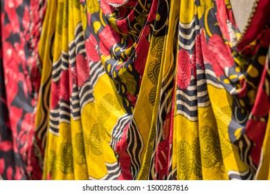 SRIMANGAL, BANGLADESH - 13 APRIL, 2018: A narrow focus image of colorful cloth hanging.