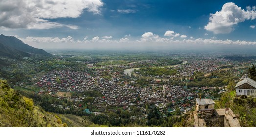 Srinagar ,12,April,2016,Kashmir India,:Panoramic aerial view showing, River Jhelum waterways  and city, habitat Srinagar, Jammu and  Kashmir ,India,Asia