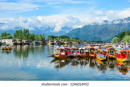 Srinagar, India - Jul 2, 2015. Wooden boats on Dal Lake in Srinagar, India. The lake, situated in the northeast of Srinagar, is one of the most beautiful lakes in India.