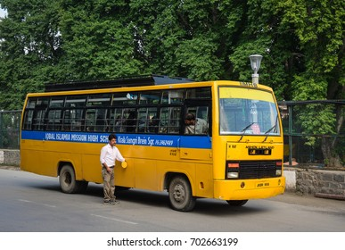 Srinagar, India - Jul 24, 2015. A local bus on street in Srinagar, India. Srinagar is the summer capital of the Indian state of Jammu and Kashmir.