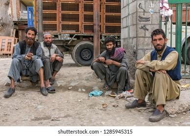 Srinagar, India - June 15, 2017: Portrait of unidentified  kashmiri men in Srinagar, Jammu and Kashmir, India