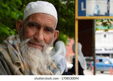 SRINAGAR, INDIA - MAY 4 2009: Portrait of unidentified Muslim man in Srinagar city, Kashmir, India. Kashmir is main Muslim region of India.