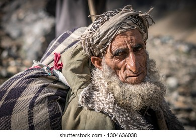 Srinagar, India - September 05, 2018: Portrait of native elderly man on northern India. Illustrative editorial.