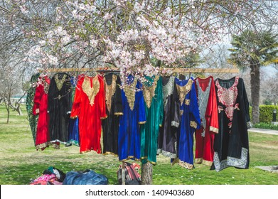 Srinagar, Jammu & Kashmir, India- Dated: May 22, 2019- Traditional Kashmiri dresses on display at a stall in Badamwari Kashmir during the local almond festival