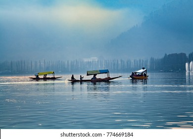 Srinagar, Jammu and Kashmir, India - November 16, 2015 : Shikara boats on Dal lake in Srinagar, Jammu and Kashmir, India