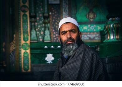 Srinagar, Jammu and Kashmir, India - November 16, 2015 : A Kashmiri Muslim Man in Srinagar, Jammu and Kashmir, India