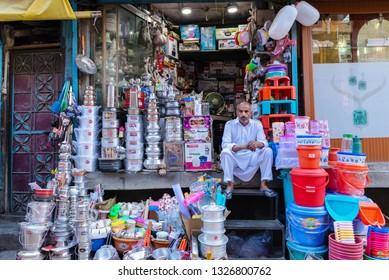 SRINAGAR Jammu and Kashmir, India;21 July 2018 : An old Kashmiri man at his shop in Srinagar, Jammu and Kashmir, India