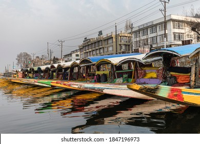 Srinagar, January 03, 2018: View of colourful boats also known as shikaras lined up on the bank of the Dal lake in Srinagar.