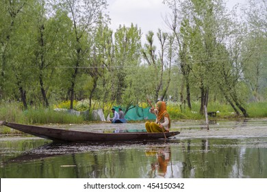 SRINAGAR KASHMIR - CIRCA MAY 2016 - A serene scene on Dal Lake as the local people go about their daily life.