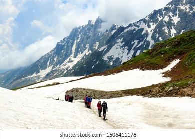 SRINAGAR, KASHMIR, INDIA - July 22,  2019 : Group trekker at kashmir great lakes trek in kashmir, India.Kashmir Landscape.Trek in India.Beautiful Landscape.