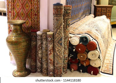 SRINAGAR, KASHMIR, INDIA - MARCH 16 2016: Pashmina carpets in a handicrafts factory in Srinagar, Jammu and Kashmir.