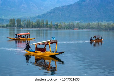 Srinagar,10 April ,2016 : Peddling  colorful shikara boats on the waters of Dal Lake with mountains and houseboats  background,Famous destination  for tourists, Kashmir, India ,Asia