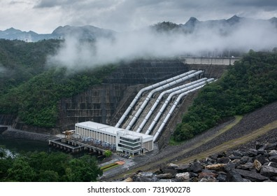 Srinagarind Dam, Thailand in the mist