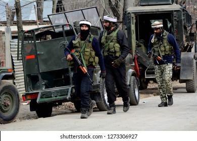 Srinagar,jammu&Kashmir,India 2019\01\03: Three  Militants killed in Encounter at Gulshanpora area of Tral in south Kashmir's Pulwama District