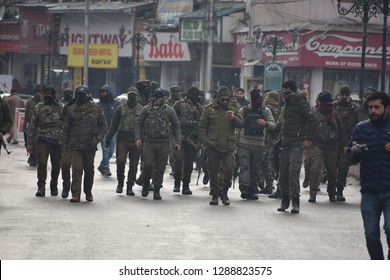 Srinagar,jammu&kashmir,india 2019\01\19:Indian paramilitary Central Reserve Police Force (CRPF) member during a search operation in Lal Chowk area of Srinagar,