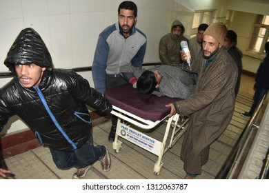 Srinagar,jammu&kashmir,india, 2019\02\13:student who was injured in a mysterious blast at Narbal Pulwama being shifted to the hospital  for treatment on Wednesday