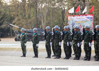SRIPATCHARIN CAMP , KHON KAEN, THAILAND - JANUARY 18, 2016: royal thai army soldier in parade ceremony 18 January ,2016 in Sripatcharin Camp, Khon Kaen, THAILAND