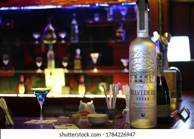 Sriperumbudur,Tamil Nadu,India-March 02,2020:A beautiful photo of vodka bottle with full of vodka from a pub in Sriperumbudur,Tamil Nadu,India.