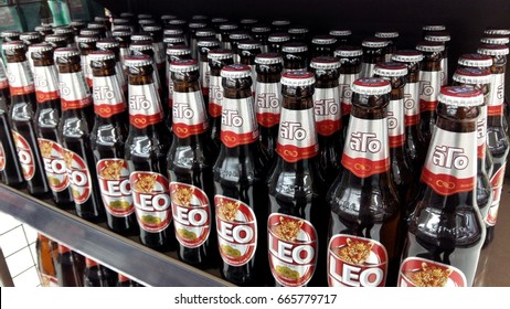 Sriracha, Chonburi THAILAND June 23, 2017: Brewing beer bottles.stacked on a shelf in a supermarket