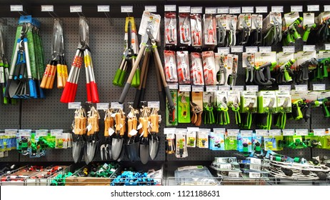 Sriracha, Chonburi THAILAND June 24, 2018: Gardening tools in Hardware Stores Placed neatly on the shelf.