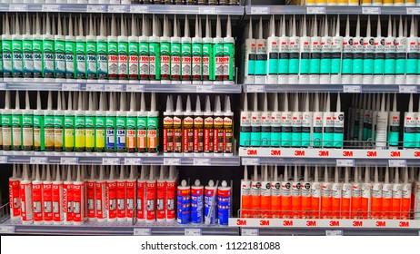 Sriracha, Chonburi THAILAND June 24, 2018: Silicone Sealant brand 3M in Hardware Stores.