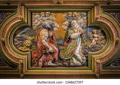 SS Jerome and Philip Neri in the vault Church of San Girolamo della Carità in Rome, Italy. March-24-2019