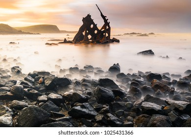 The SS Speke Shipwrecked near Kitty Miller Bay. It's a three masted steel ship of 2,876 tons and 93 metres, The Speke drifted broadside on to a reef.