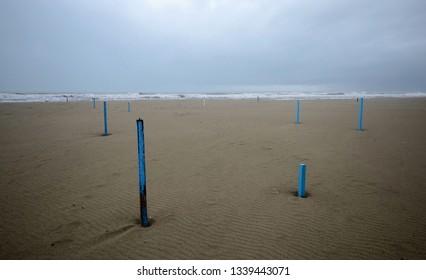 Sscenic view of empty beach in Versilia coastline in winter season
