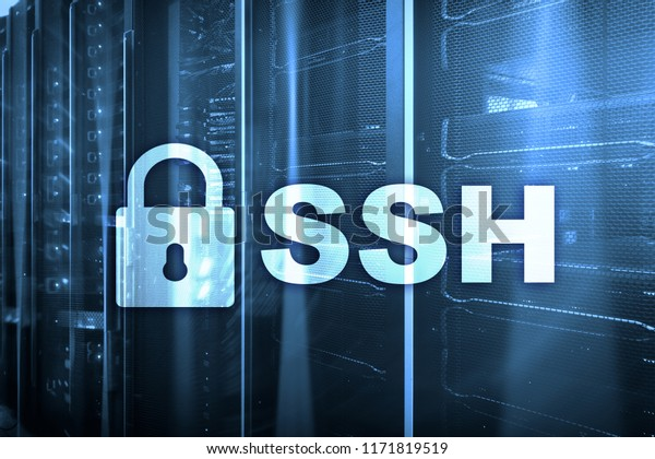 SSH, Secure Shell protocol and software. Data protection, internet and telecommunication concept.