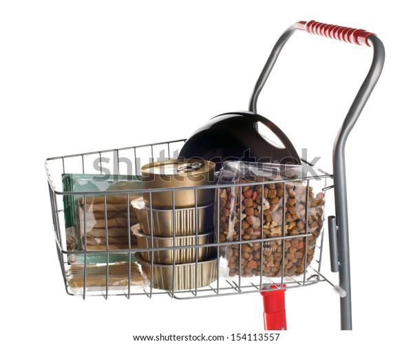 Sshopping cart full of dog food on white background